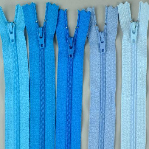YKK ritsen, blauwe spiraalritsen, blauwe japonritsen, ritsen.