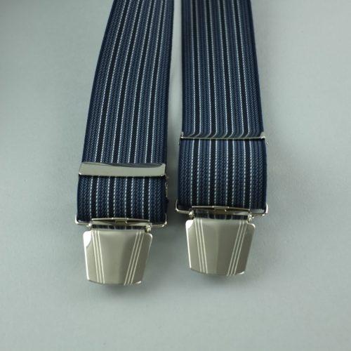 donkerblauwe gestreepte 3-clips bretels