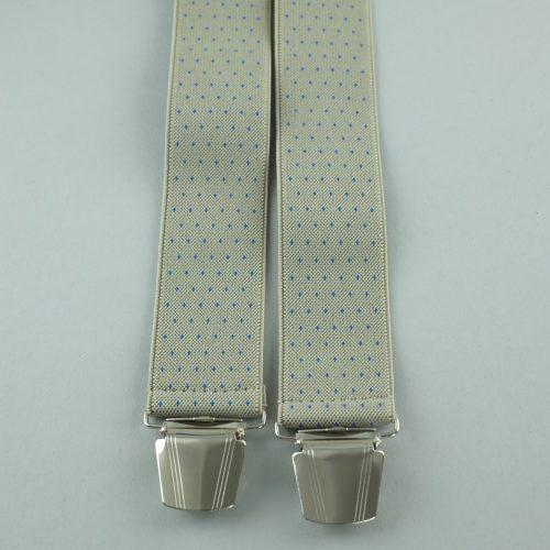 Beige gestippelde 4-clips bretels.