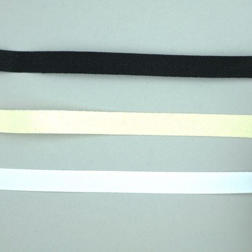 Zwart, wit & ecru glad katoenen keperband van 10 en 15mm breed.