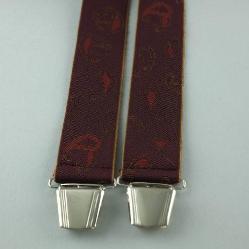 Donkerrode extra lange 4-clips bretels van het Nederlandse merk Pierre Mouton