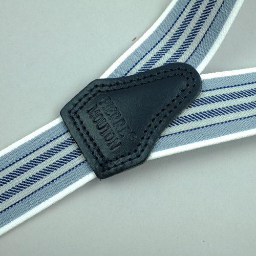 blauw gestreepte 3-clips bretels