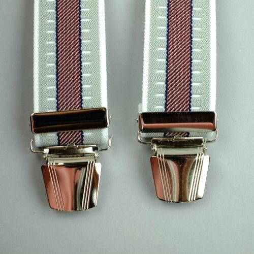 rood met grijs gestreepte bretels