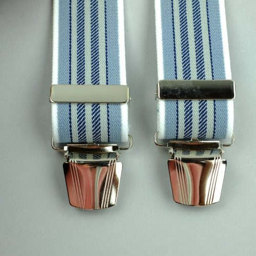 blauwe smal gestreepte 4-clips bretels
