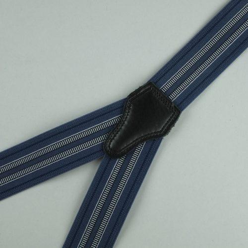 blauwe gestreepte 3-clips bretels