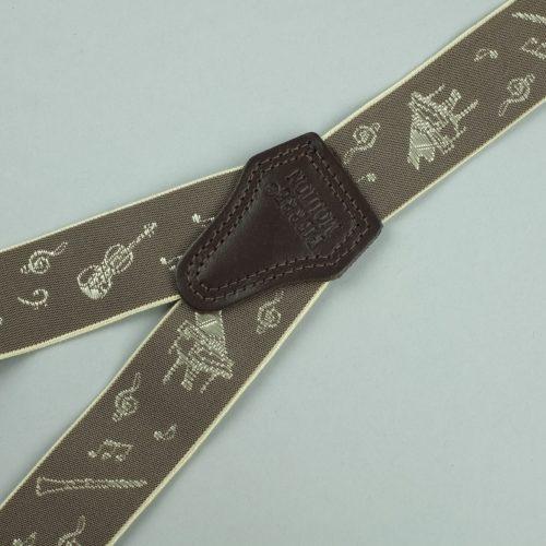 taupe 3-clips bretels met muziekinstrumenten
