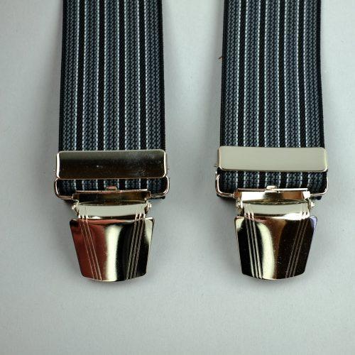 donkergrijze gestreepte 3-clips bretels