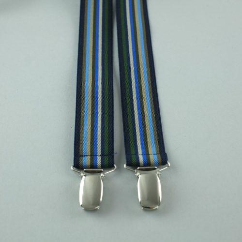 Blauwe gemêleerde 4-clips bretels