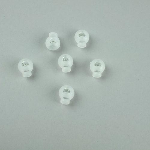 Kleine transparante koordstoppers.Deze koordstoppers zijn geschikt voor koord van 3 mm dik.